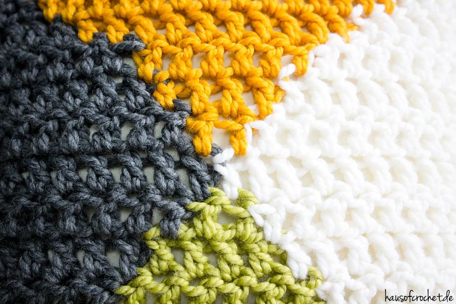 Tutorial: Vierfarbiges Kissen häkeln - hausofcrochet.de
